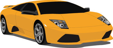 Orange Lamborghini. A Lamborghini sports car vector, saved in layers for easy editing. See my portfolio for more automotive images stock illustration