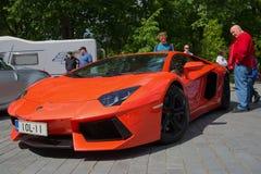 Orange Lamborghini Aventador LP 700-4 `Miura Homage` at the parade of sports cars in Turku stock image