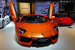 Orange Lamborghini  Aventador lp700-4 Royalty Free Stock Photography