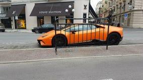 Orange Lamborghini Huracan Performante Side View. Nice, France - February 6, 2019: Luxury Orange Lamborghini Huracan Performante Side View Parked In Front Of A stock video