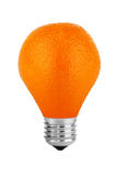 Orange lamp. Orange fruit in the form of light bulbs on a white background Stock Photo