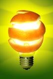 Orange Lamp. Shining bright lamp with orange peel around it making shadows on the wall Royalty Free Stock Images