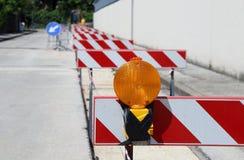 Orange lamp in roadworks Royalty Free Stock Photo