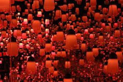 Orange lamp teamlab borderless stock photography