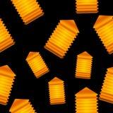 Orange lanterns,  seamless background. Stock Images