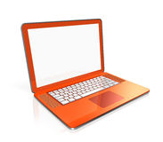 Orange Laptop computer isolated on white. 3D black laptop computer isolated on white with 2 clipping path : one for global scene and one for the screen Royalty Free Stock Image