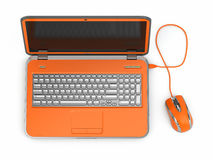 Orange laptop and computer mouse. Opening laptop and computer mouse on white isolated background. 3d Royalty Free Stock Photo