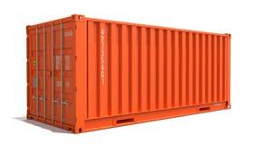 Orange lastbehållare som isoleras på vit Royaltyfria Bilder