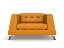 Orange lather armchair isolated on white background 3D rendering vector illustration
