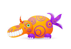 Orange  laughing cute monster with horn Royalty Free Stock Photo