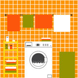 Orange laundry interior Stock Image