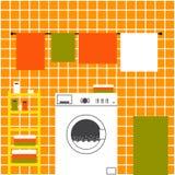 Orange laundry interior Stock Image