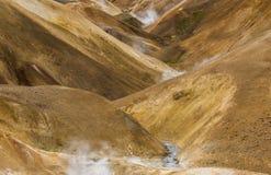 Orange Lava Hills with steam Kerlingarfjoll Iceland Royalty Free Stock Photos