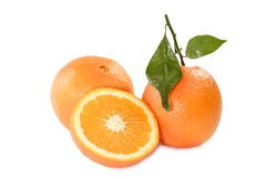 Orange with leaf Stock Image