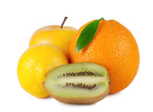 Orange with leaf, apple, lemon, kiwi Stock Image
