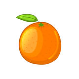 Orange with leaf. Cartoon icon. Isolated object on a white background. Vector illustration stock illustration