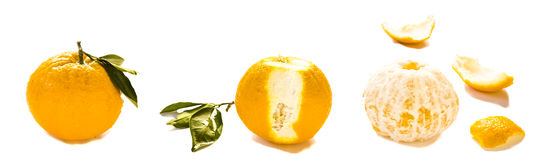 Orange with leaf unpeeld and peeled Royalty Free Stock Photography