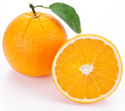 Orange with leaf. Stock Images