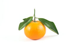 Orange. With leaf on a white background Royalty Free Stock Images