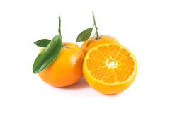 Orange. With leaf on a white background Royalty Free Stock Photo