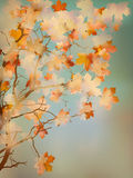 Orange leafs on vintage colored blue sky. EPS 10 Royalty Free Stock Photography