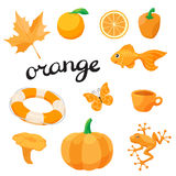 Orange. Learn the color. Education set. Illustration of primary colors. Royalty Free Stock Photography