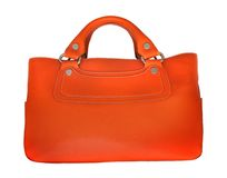 Orange leather bag Royalty Free Stock Image