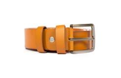 Orange leather belt on white background Stock Photo