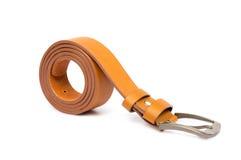Orange leather belt on white background Stock Image