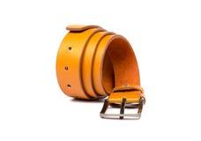 Orange leather belt on white background Stock Photography