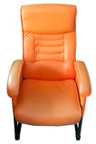 Orange leather chair isolated Stock Image