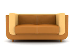Orange leather couch isolated on white background Royalty Free Stock Photos