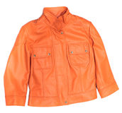 Orange leather jacket. Stock Photos