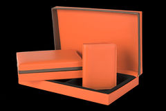 Orange leather wallet and gift box set isolated on black backgro. Und Stock Images