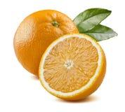 Orange leaves half piece isolated on white background Stock Photos