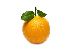 Orange with leaves isolated on white background. Clipping path Royalty Free Stock Images
