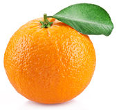 Orange with leaves isolated on a white background. Image with a maximum depth of field Stock Image