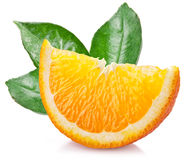 Orange with leaves over white. Stock Photo