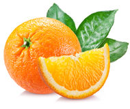 Orange with leaves over white. Stock Photos