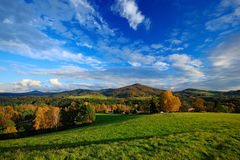 Orange leaves trees with dark blue sky with white clods. Morning view after sunrise, autumn view, orange landscape, Rynartice, Boh Stock Images