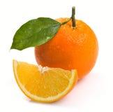 Orange with leaves Stock Image