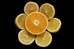 Orange & lemon. Orange and Lemon isolated on black background Royalty Free Stock Photography