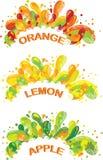 Orange, lemon and apple juice colorful splashes. Stock Photography