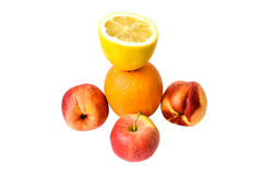 Orange, lemon, apple and two nectarines. Royalty Free Stock Photos