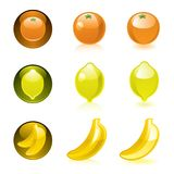 Orange Lemon Banana icons. Web 2.0 Stock Photos