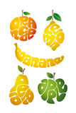 Orange. Lemon. Banana. Pear. Apple. Stock Photo