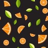 Orange, lemon on black background. Seamless pattern. Vector illustration. Orange, lemon on black background. Seamless pattern. Vector illustration for web royalty free illustration