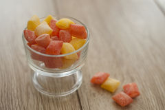Orange and lemon bon bons. In a glass bowl Royalty Free Stock Photo
