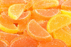 Orange and lemon candy slices close up Stock Image