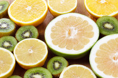 Orange, lemon citrus fruit healthy food and kiwi Royalty Free Stock Photography